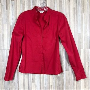 Topshop | Red Long Sleeve Fitted Blouse 8